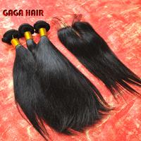Brazilian Virgin Hair 4pcs Lot Middle Part Lace Closure With 3pcs Straight Hair Bundles Unprocessed Human Virgin Hair Extension