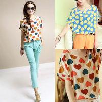 2014 NEW CHIC! Sexy Women Colorful Birds Chiffon shirt Batwing Loose Blouse Casual Tops Hot Sale Free Shipping W4039