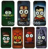 10pcs/lot Wholesale Super Man Iron Man Spider Man Hulk Batman GreenLight Cases for iphone 5 5s Hard Mobile Phone Cases Cover