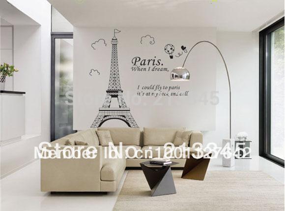 Moda paris torre eiffel arte adesivos de parede remov vel for Decalque mural