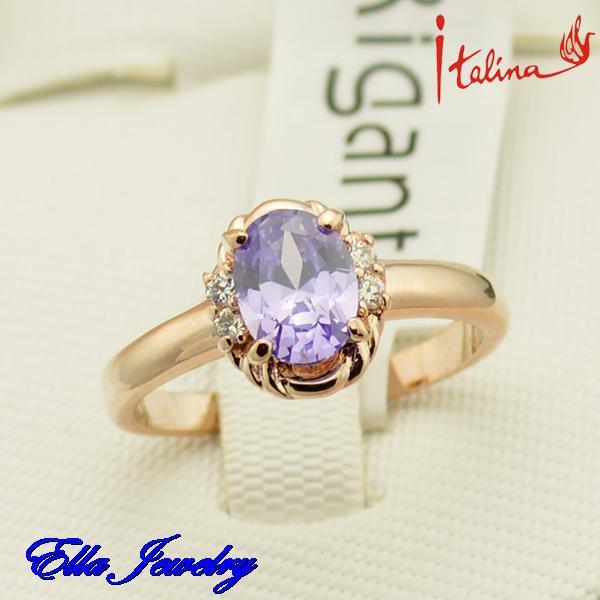 NEW 2015 Italina Brand Amethyst 18k rose gold plated Artificial gemstones Austrian crystal zirconia diamond rings jewelry(China (Mainland))