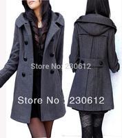 Hot! Women's Woolen Outerwear Hooded Slim Coat Outerswear Double Breasted wool Overcoat Thick Winter Wool Coat Jacket Women B212