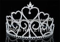 "Tall  Bridal Wedding Beauty Contest Pageant  Tiara Heart Sparkling Crystal 4"" (10 cm)  CT1699"