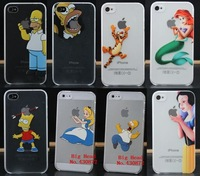 For iphone 4 4s case New Funny Transparent Simpson Snow White tiger cell phone cases covers for iphone 4s free shipping