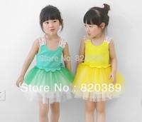 Retail flower2013 Summer Korean princess dress,girl vest  ball gowm,child baby Camisole Pierced dress,tutu dress  free shipping
