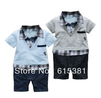 Free shipping Hot selling New arrival Baby romper with plaid shirt and V-neck sweater/ Short-sleeved boy romper in preppy style