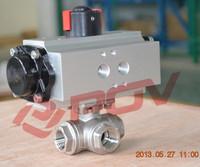T-port thread cf8m ball valve 3way pneumatic valves