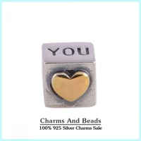 925 Sterling Silver I Love You Dice Thread Charm with Gold Plated Heart Fits Pandora Style Charm Bracelets & Bangles
