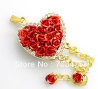 Love Heart Red Flowers USB Drive Memory Flash 1GB 2GB 4GB 8GB 16GB 32GB Genuine Red