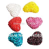 2014 New Heart Shape Crystal Shamballa Beads Hole Through Beads  Colorful beads 23*18 mm Wholesale beads F-001