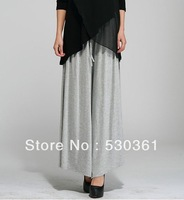 All seasons, New 2013  fashion wide leg women pants, plus size loose fat girl women's full length solid pants