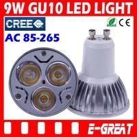 2PCS/LOT Ultra Bright Cree GU10 led 9W Bulb GU10 Socket Led Light Led Lamp Led Spotlight AC85-265V CE/RoHS Warm/Cool White