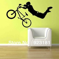 Free Shipping Boy Giant BMX Bike Bicycle Wall Stickers Decal DIY Home Decoration Wall Mural Removable Room Sticker (56x 102cm)