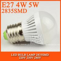 High brightness LED Bulb Lamp E27 2835SMD 4W 5W 6W 7W AC220V 230V 240V Cold white/warm white Free shipping