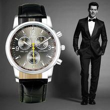 Hot vender marca de relógios de luxo na moda Men Round Dial pulseira de couro preto de quartzo relógio de moda de alta qualidade dos homens relógios desportivos(China (Mainland))