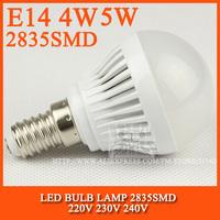 High brightness LED Bulb Lamp E14 2835SMD 4W 5W 6W 7W AC220V 230V 240V Cold white/warm white Free shipping