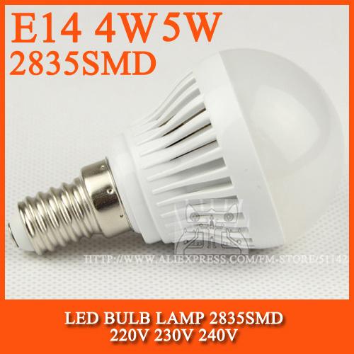 High brightness LED Bulb Lamp E14 2835SMD 4W 5W 6W 7W AC220V 230V 240V Cold white/warm w