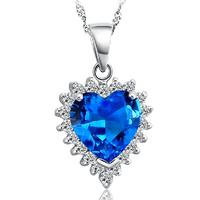 "Classic ""Heart of Ocean"" Austrian Crystal Pendant Necklace 925 Sterling Silver Women's Zircon Jewelry Free Shipping (CN003)"