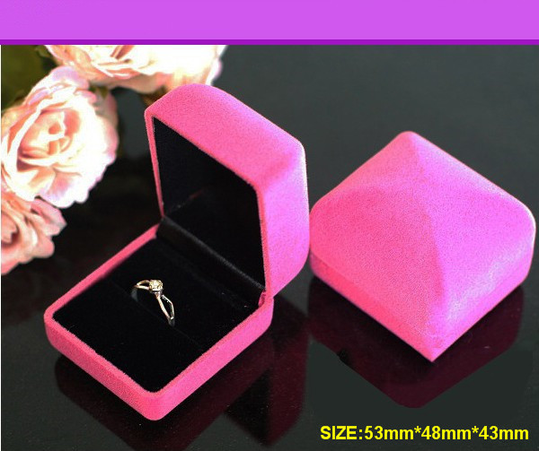 Top Quality Lint Square Ring Box,Pink&Blue Colors Avaliable,Elegant Earring Box,Jewelry Box Wholesale(China (Mainland))
