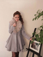 2013 new women's winter warm woolen coat jacket Slim Trendy Fur  collar Nagymaros Free shipping drop shipping t352