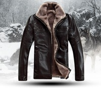 HOT!!! Free shipping Men's brand luxury fur sheep leather men's fur coat very warm in winter leather jacket,M-4XL