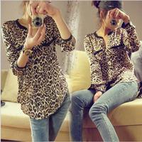 NEW 2014 Spring Summer Women Clothing Ladies Sexy Fashion Casual Long Sleeve V-neck Chiffon Leopard Print Blouse Shirt Women