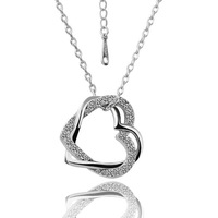 Wholesale 18K Gold Plated Fashion Romantic Double Heart Necklaces & Pendants Nickel Free Crystal Jewelry N006