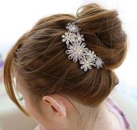Free shipping,Min order 15$ (Mixed order) Fashion Vintage Luxury Rhinestone Flower Petal Crystal Alloy Hair Comb Headwear Jewel