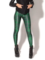 New Arrival Women 2013 Designed digital Printed milk vintage Tartan Green Leggings free shipping Fashion