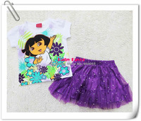 Free Shipping 2pcs Kids Baby Girl Dora Pricess Dress T Shirt Party Tutu Outfit Costume Clothes Purple 2013 Design Cartoon 1-5Y