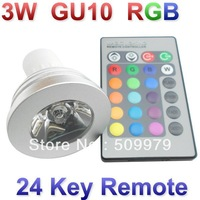 DHL Free shipping E27/GU10/MR16 3W RGB Spotlight 16 Color RGB 3W LED RGB 3W bulb Spotlight Light with 24key Remote Control