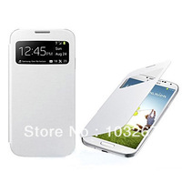 Free shipping Screen Visible PU Leather Full Body Back Cover Phone Case for Samsung Galaxy S4 I9500