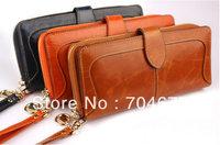 100% Oil Waxing Genuine Leather Vintage Long Retro Exquisite Clutch Wallet Cowhide Purse Handbag