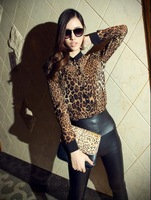 2014 Fashion Leopard Print Chiffon Shirts For Women Sexy Long sleeve Blouses Leasure See through Tops Tees S M L XL