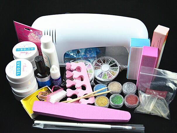 Professional Full Set UV Gel Kit Nail Art Set + 9W Curing UV Lamp Dryer Curining(China (Mainland))