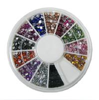 Free shipping- Mix 12 Color 2.0mm Circle Beads Nail Art Rhinestones/diamond/stone Glitters Nail Art Gems Decoration