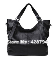 2013 Genuine Leather Women Handbag Black Top Layer of Cowhide Female One Shoulder Cross-body Brief large Bag
