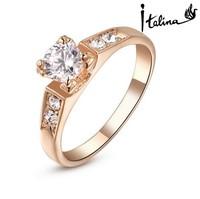 Real Italina Rigant Jewelry Classic 18K Rose Gold/Platinum Plated Rhinestones Wedding Ring Anti Allergies Ring
