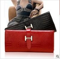2013 genuine leather crocodile texture long design women's wallet cowhide patent leather  women's clutch  wallet  coin purse