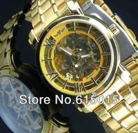 Winner Brand Gold Watch Classic Men's Clock Skeleton Self-wind Watch For women Sport Design Watch