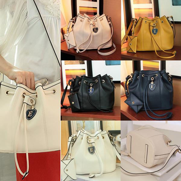 2014 New Fashion Popular Korea Tote Faux Leather Drawstring Shoulder Bucket Bag for Women(China (Mainland))