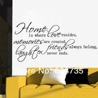 large size 78x46cm free shipping ebay hot selling HOME IS WHERE LOVE RESIDES QUOTE VINYL WALL DECAL STICKER ART-DECOR