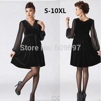 Plus Size S-4xl 5xl 6xl 7xl 8xl (bust 128cm) Woman Dress 2014 New Spring Summer Black Velvet Long-Sleeve Women One-Piece Dress