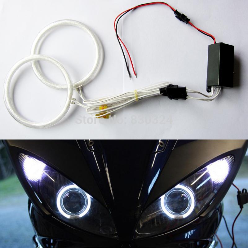 72MM/76MM/80MM/85MM/90MM/97MM/100MM/106MM/115MM/127MM/145MM Motorcycle CCFL Angel Eyes Kit with 2 ccfl halo ring+1 ccfl inverter(China (Mainland))