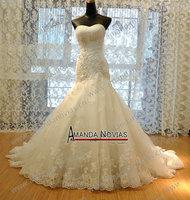 2014 Luxurioustop wedding dresses Croset Bodice Lace Top Quality Real Sample  princess Designer Wedding Dress