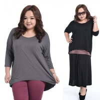 Irregular Top Tees Plus size Female T Shirt Fat Women Fashion Clothing Large Big Size Batwing Sleeve Korean Ladies Modal Blouse
