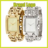 100% New Luxury Simple Famous Brand Steel Chain Diamond Quartz G Wrist Watch for Women Ladies /w Logo Free Shipping Gold Silver