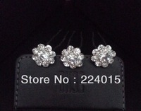 Free Shipping  ! 12 pcs 24mm Flower Clear Crystal Rhinestone /Drill  Flower Hair Pin Clips Women Hair Wedding Jewelry,JB165