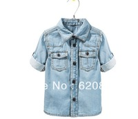 Retail +  Free shipping 2013 The new boy  Washed denim shirt washed denim slim shirt  2T-10T