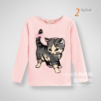 High quality 2014 Kids soft Spring/autumn cotton T-shirts girls cute little cat cartoon T-shirts